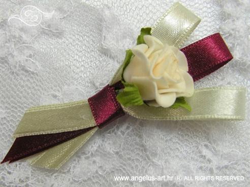 kitica za rever bordo crvena s krem ružom