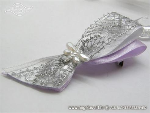 kitica za vjenčanje srebrno lila s mrežom i leptirićem