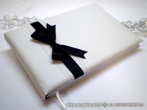 knjiga dojmova crno bijela sa satenskom mašnom