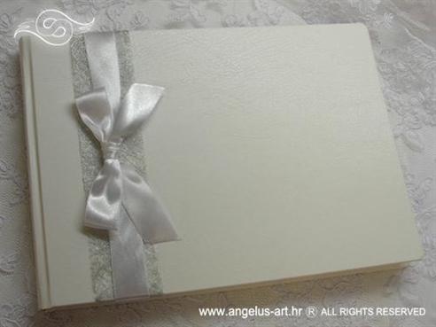 knjiga dojmova za vjenčanje bijela mašna