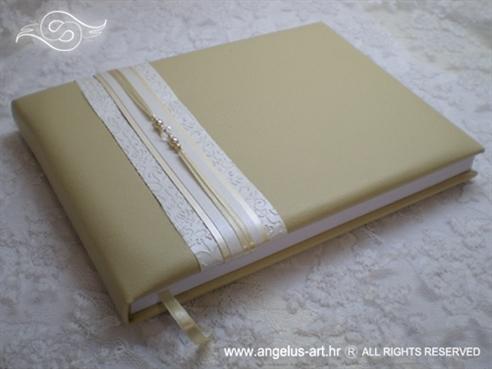 knjiga dojmova za vjenčanje s perlama i 3D uzorkom