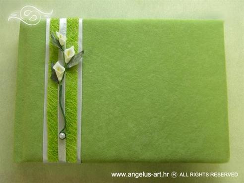 knjiga dojmova zelena s kalama i sisalom za vjenčanje