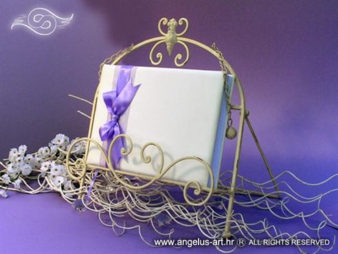 knjiga gostiju bijela s ljubičastom mašnom i organdij trakom