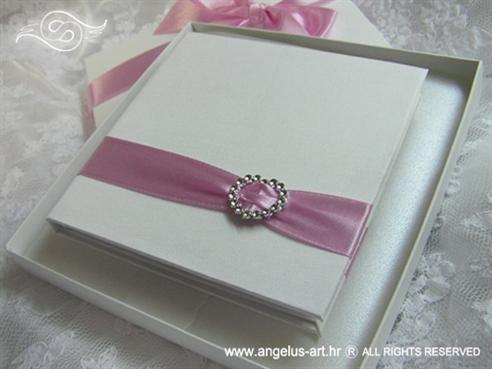 knjiga za prstenje bijela s rozim masnama i brosem srce 2647