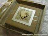 knjigica za vjenčano prstenje s natural trakom i drvenim srcem