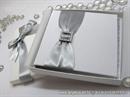Wedding rings pad - Silver Ribbon with Brooch