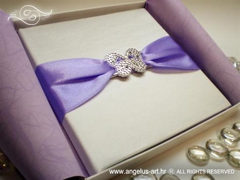 knjižica s jastučićem za vjenčano prstenje srebrni leptir