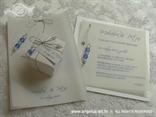 komplet pozivnica i zahvalnica s plavim perlicama