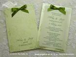 komplet zahvalnica i pozivnica za vjenčanje zelena sa zelenom mašnom