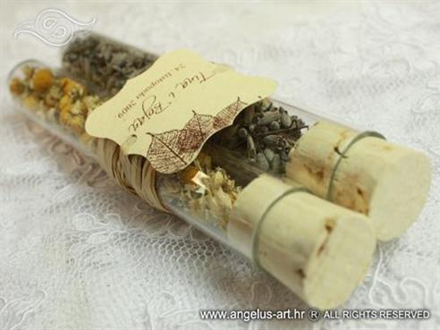 konfet za vjenčanje natural kamilica i lavanda u epruveti