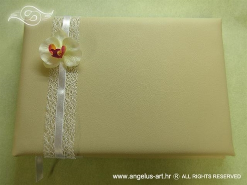 krem knjiga dojmova s orhidejom i bijelom mrežom