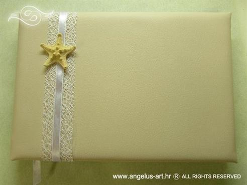 krem knjiga dojmova za vjenčanje s morskom zvijezdom