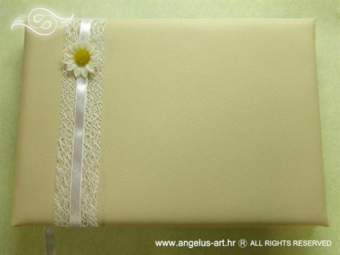 krem knjiga dojmova za vjenčanje s mrežom i ivančicom