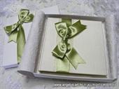 Knjiga za prstenje Krem zelena mašna