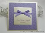 krem lila pozivnica za vjenčanje s 3D cvjetovima