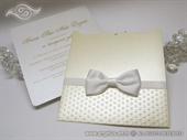Pozivnica za vjenčanje -Cream White Bow Charm