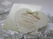 Pozivnica za vjenčanje - Cream Heart Shape