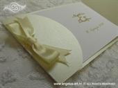 Pozivnica za vjenčanje Vintage Krem Mašna