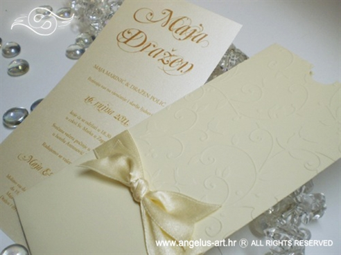 krem pozivnica za vjenčanje u etui omotnici