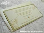 krem šampanj pozivnica za vjenčanje s krem perlastom kuvertom