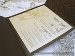 krem smeđa pozivnica za vjenčanje s tiskom i izbočenim krivuljama