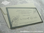 krem srebrna pozivnica s tiskom i kuvertom