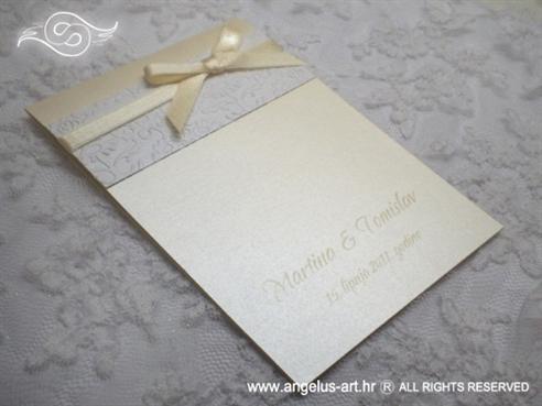 krem zahvalnica za vjenčanje s 3D tiskom i bež mašnom