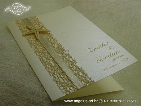 krem zahvalnica za vjenčanje s mrežom i morskom zvijezdom