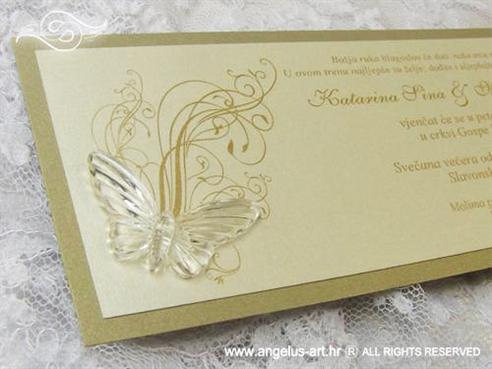krem zlatna pozivnica s leptirom i tiskom