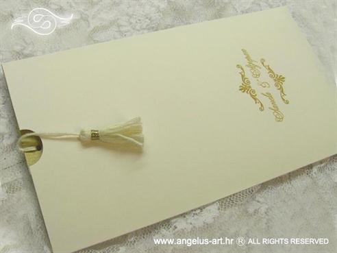 krem zlatna pozivnica za vjenčanje na izvlačenje s kićankom