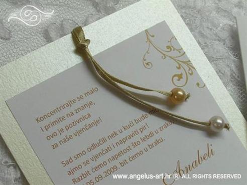 krem zlatna pozivnica za vjenčanje na izvlačenje