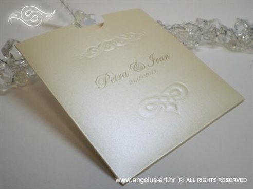 krem zlatna pozivnica za vjenčanje s 3D tiskom na izvlačenje