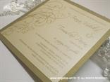 krem zlatna pozivnica za vjenčanje s tiskom