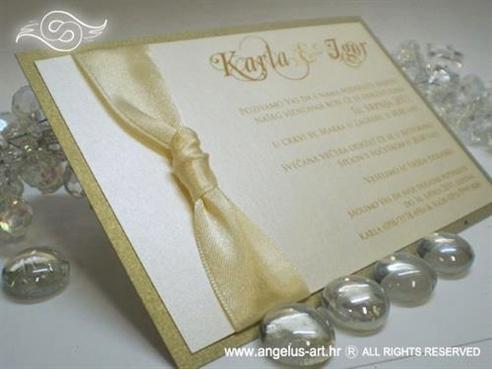 krem zlatna pozivnica za vjenčanje sa šampanj trakom