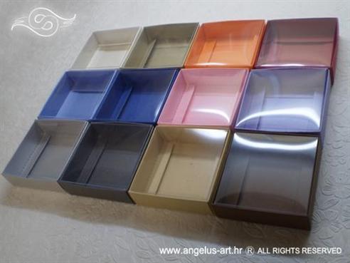 kutijice za konfete u boji s prozirnim poklopcem