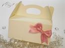 Kutija za kolače - Krem kutija za kolače s mašnom