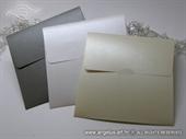 Perlasta kuverta 16x16 cm u bijeloj,krem i srebrnoj boji