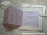 lavanda bijela pozivnica sa satenskom mašnicom i tiskom