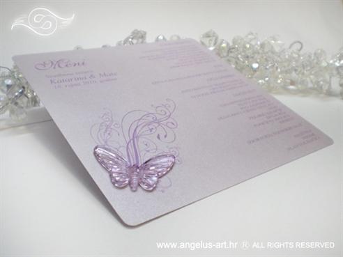 lavanda lila menu za svadbenu večeru s ljubičastim leptirom