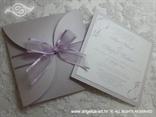 lavanda pozivnica za vjenčanje s organdij mašnom