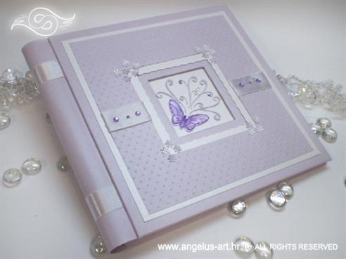 lila foto album s leptirom, cirkonima i 3D točkicama
