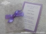 lila pozivnica s mašnom