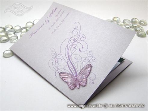 lila zahvalnica za vjenčanje s ljubičastim leptirom