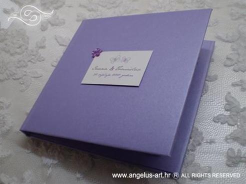 ljubičasta knjigica za vjenčano prstenje s cirkonom i lila mašnama