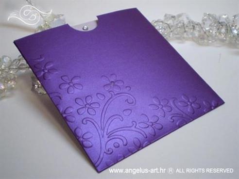 ljubičasta pozivnica za vjenčanje s cirkonom i 3D tiskom