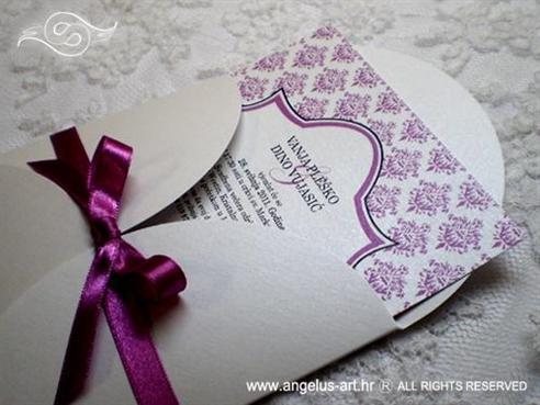 ljubičasta pozivnica za vjenčanje s damask uzorkom i cirkonima