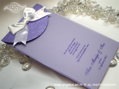 ljubičasta zahvalnica za vjenčanje s 3D tiskom i bijelom mašnom