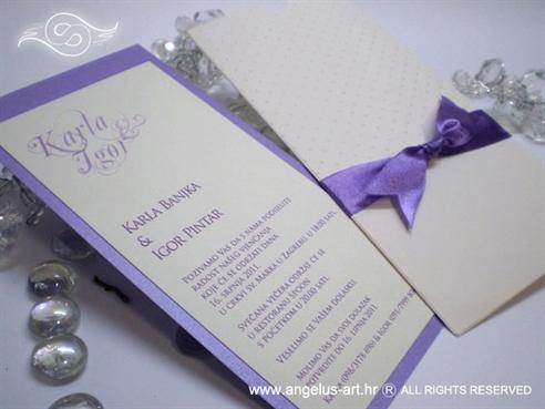ljubičasto krem pozivnica za vjenčanje na izvlačenje s točkicama