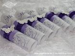 menu carta za svadbenu svečanost u ljubičastoj boji s leptirom