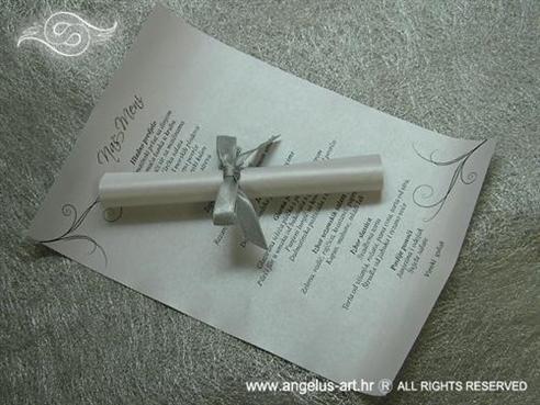 menu ili jelovnik za vjenčanje tiskan na perlastom papiru s mašnicom